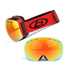 Magnetic Snowboard Snow Goggles Double-Layer Anti Fog Lens - Red frame&true red film&red band