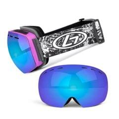 Magnetic Snowboard Snow Goggles Double-Layer Anti Fog Lens - Rose red frame&dazzle blue mirror film&black and white lines