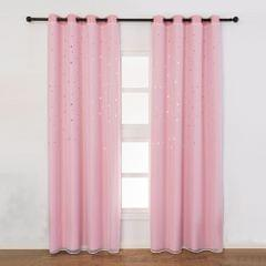 Blackout Curtains Star Shape Hollow Double Layer Cloth Yarn