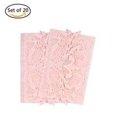 20pcs/set Wedding Invitation Card Set Pearl Paper Laser Cut