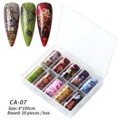 Box of 10 Rolls Transfer Watermark Nail Stickers for - CA-07