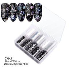 Box of 10 Rolls Transfer Watermark Nail Stickers for - CA-03