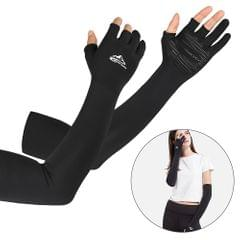 Cooling Arm Sleeves with Ergonomic Fingers Men Women UV Sun - L