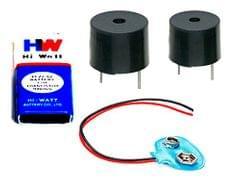 Prime    CTE049 DIY 5V Buzzer With Hi-Wi 9V Battery & Connector, Combo Of 4, Multi-Color