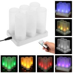 Set of 6 Rechargeable LED Color Changing Flickering - 6-Pack & US Plug