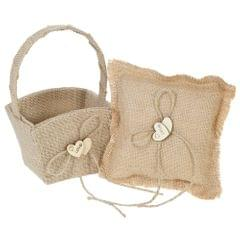 6 * 6 inches Vintage Burlap Double Heart Ring Bearer Pillow
