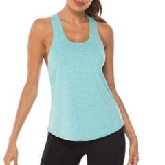 Women Workout Tops Racer Back Solid Sleeveless Yoga Fitness - Large