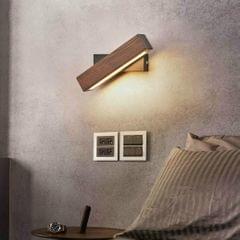 Simple Rotatable Bedside Bedroom Wall Lamp Warm Night Light, Size:31cm (Walnut )