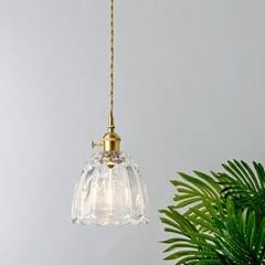 Brass Glass Single Head Small Chandelier without Light Source (I Style )