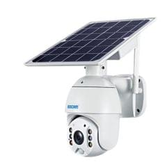 ESCAM QF480 EU Version HD 1080P IP66 Waterproof 4G Solar Panel PT IP Camera without Battery, Support Night Vision / Motion Detection / TF Card / Two Way Audio (White)