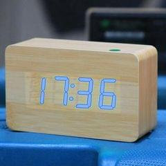 Red Number USB / Battery Wooden Clock with Voice Control (Blue)