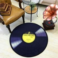 Creative Retro 3D DVR Record Carpet Round CD Floor Mat Home Decor Living Room Kid Bedroom Decoration  Rug, Diameter 100cm (Yellow)