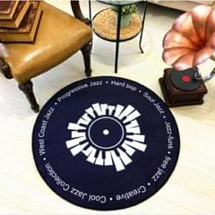 Creative Retro 3D DVR Record Carpet Round CD Floor Mat Home Decor Living Room Kid Bedroom Decoration  Rug, Diameter 100cm (Black+White)