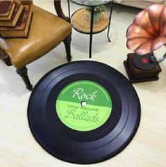 Creative Retro 3D DVR Record Carpet Round CD Floor Mat Home Decor Living Room Kid Bedroom Decoration  Rug, Diameter 120cm (Green)