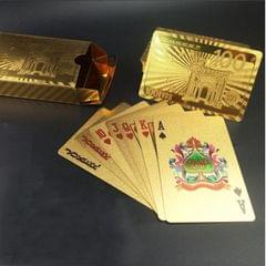 Creative Frosted Golden Tattice Back Texture Plastic From Vegas to Macau Playing Cards Texas Poker Novelty Collection Gift (Style4)