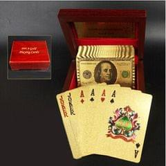 Creative Frosted Golden 100 Euro Back Texture Plastic From Vegas to Macau Playing Cards Texas Poker with Wooden Gift Box (Style8)
