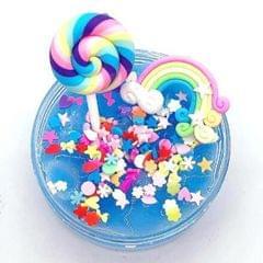 DIY Rainbow Lollipop Poking Puzzle Unzipping Q Bomb Plasticine (Blue)
