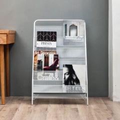 Nordic Minimalist Modern Iron Magazine Shelf Children Picture Book Small Bookshelf) (White trumpet (3 layers))