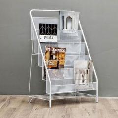 Nordic Minimalist Modern Iron Magazine Shelf Children Picture Book Small Bookshelf) (White large size (5 layers))