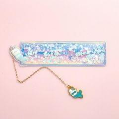 Cute Cartoon Quicksand Drawing Ruler Student Pendant Bookmark Stationery (Blue Fishtail Meow)