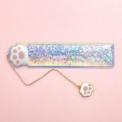 Cute Cartoon Quicksand Drawing Ruler Student Pendant Bookmark Stationery (Cat Claw Flower)