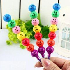 5 PCS Cute 7 Colors Stacker Swap Smile Face Crayons Children Drawing Gift, Length:12cm