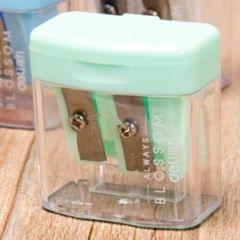 Double Holes Plastic Pencil Sharpeners Candy Color Transparent Standard Pencil Cutting Machine (Light green)