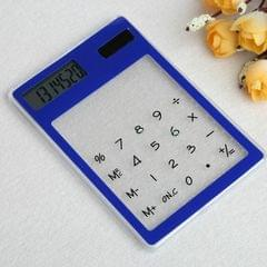 Ultra Slim Mini Transparent Solar Powered LCD Touch Screen 8 Digit Calculator (Blue)