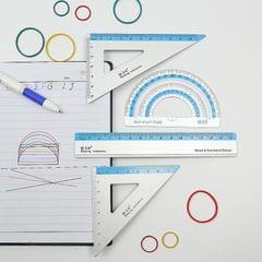 2 PCS Aluminum Triangle Ruler Compass Ruler 4-Piece Set Student Digital Geometry Painting Measurement Random Color Delivery
