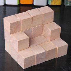 50 PCS / Set Wood Color Elementary School Mathematics Teaching Aid Cube Cube Mold Stereo Recognition Graphics Tool, Size:2cm