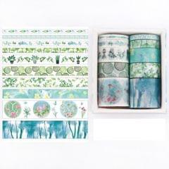 10 PCS/Box Fantasy Ocean Beautiful Plants Leaves Paper Tape DIY Decoration for Handbook Masking Tape Adhesive Tape (Thick Leaves)