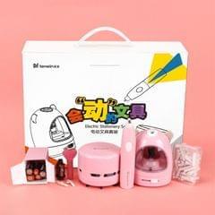 Astronomy Electric Pencil Sharpener Net Red Student Stationery Set Gift Box Desktop Vacuum Cleaner Eraser Pen Knife (Pink)