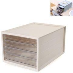 Transparent Drawer Storage Cabinet Stackable Desktop Office File Cabinet, Size: 4 Layer (Beige)