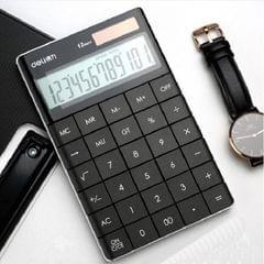 Deli 1589 Solar Large Button Calculator Office Business Colorful Portable Tablet Calculator (Black)