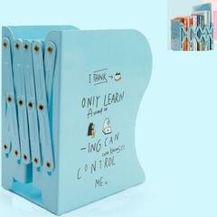 Telescopic Book Stand Desktop Folding Storage Stretch Shelf (Blue)