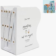 Telescopic Book Stand Desktop Folding Storage Stretch Shelf (White)
