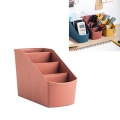 3 PCS Home Office Plastic Storage Box Desktop Student Stationery Rack Cosmetic Box (Dark Flesh)
