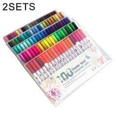 2 Sets 100 Color Double Head Hook Line Pen Color Marker Soft Head Watercolor Pen Art Supplies Children Gift Painting Set