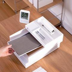 Office Stationery Desktop Finishing File Rack A4 Paper Storage Multi-layer Data Basket (White)