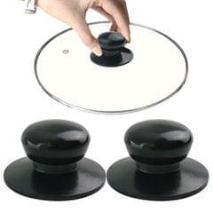 2 PCS Universal Pot Lid Handle Cap Hat Stainless Steel Fitting (Black)