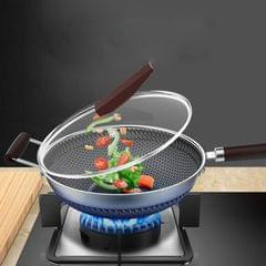 Stainless Steel Antibacterial Non-Stick Pan Household Non-Oily Smoke Wok, Suitable For Induction Cooker / Gas Stove, Style:34CM With Cover