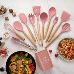 11 PCS / Set Wooden Handle Kitchenware Kitchen Non-stick Pan Cooking Spatula Spoon (Pink)