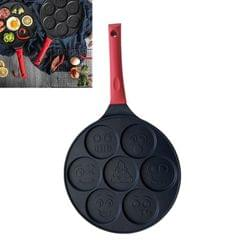 Seven-hole Breakfast Pan Multifunctional Flat Bottom Frying Pan Non-stick Egg Dumpling Pan (Black Smiley Pattern)