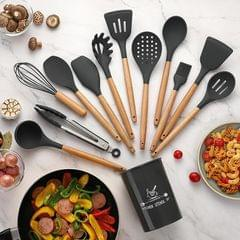 11 PCS / Set Wooden Handle Kitchenware Kitchen Non-stick Pan Cooking Spatula Spoon (Dark Gray)