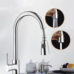 Kitchen Pull-out Faucet Hot And Cold Home 304 Stainless Steel Retractable Rotating Faucet, Style:Plating 304