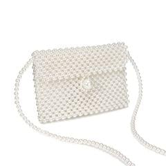 Women Fashion Beaded Single Shoulder Crossbody Bag (Beige)