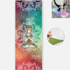 Yoga Mat Indoor Fitness Exercise Mat Ultra Thin Non Slip Sweat Absorbent Folding Portable Mat, Size:183 x 65cm (Graceful Naman Without Colloidal Particles)