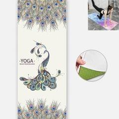 Yoga Mat Indoor Fitness Exercise Mat Ultra Thin Non Slip Sweat Absorbent Folding Portable Mat, Size:183 x 65cm (Peacock  Without Colloidal Particles)