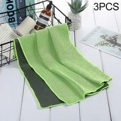 3 PCS Absorbent Polyester Quick-drying Breathable Cold-skinned Fitness Sports Portable Towel (Green)