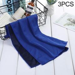 3 PCS Absorbent Polyester Quick-drying Breathable Cold-skinned Fitness Sports Portable Towel (Dark Blue)